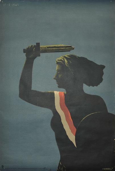 """Oryginalny polski plakat polityczny """"17 I 1945"""" . Projekt TADEUSZ TREPKOWSKI"""