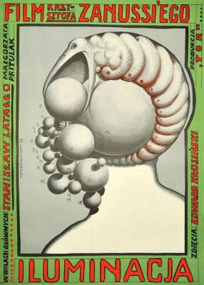 Oryginalny polski plakat filmowy do filmu polskiego Iluminacja. Reżyseria: Krzysztof Zanussi. Projekt plakatu: Franciszek Starowieyski