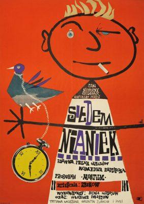 """Plakat filmowy do radzieckiego filmu """"Siedem nianiek"""". Reżyseria: Rolan Bykov. Projekt: MARIA NIKLEWSKA"""