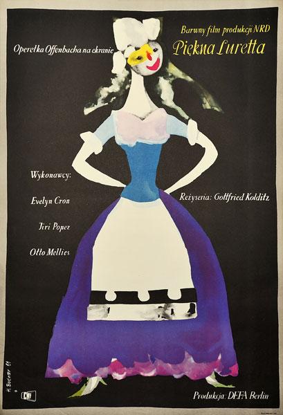 """Plakat filmowy do niemieckiej ekranizacji operetki Offenbacha """"Piękna Luretta"""". Reżyseria: Gottfried Kolditz. Projekt: HANNA BODNAR"""