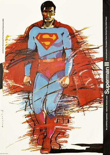 """Plakat filmowy do kultowego amerykańskiego filmu """"Superman III"""". Reżyseria: Richard Lester. Projekt: GRZEGORZ MARSZAŁEK"""