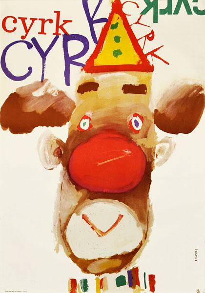 Oryginalny polski plakat cyrkowy przedstawiający klauna - misia z czerwonym nosem. Projekt plakatu: WALDEMAR ŚWIERZY