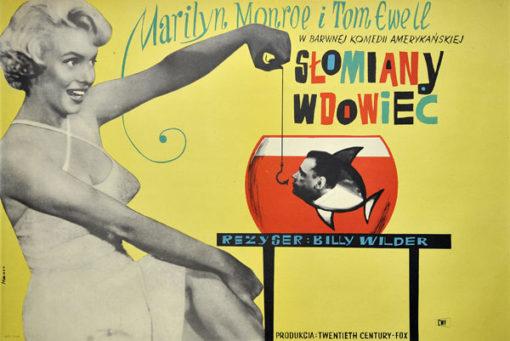 """Oryginalny polski plakat filmowy do amerykańskiego filmu """"Słomiany wdowiec"""". Reżyseria: Billy Wilder. Projekt: MACIEJ HIBNER"""