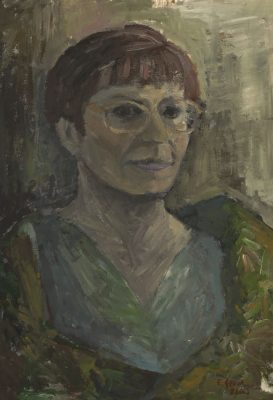 Obraz sygnowany przez Ewelinę Gasior pochodzi z lat 80-tych XX wieku. Wykonany w technice tempery na kartonie.