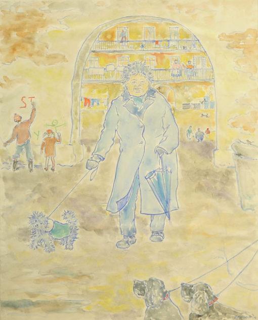 Akwarela na papierze z 1982 roku sygnowana przez Wiesławę Kościuk