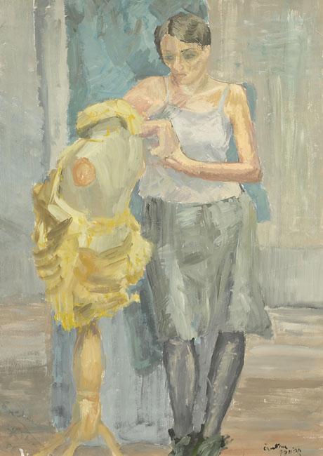 Obraz Eweliny Gąsior namalowany w technice tempery przedstawiający pełnopostaciowy portret kobiety