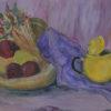 Obraz Eweliny Gąsior namalowany w  latach 80-tych XX wieku w technice gwaszu przedstawiający kompozycję z czajnikiem
