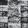 Grafika Eweliny Gąsior z lat 80-tych XX wieku przedstawiająca kompozycję z różnymi częściami ciała.