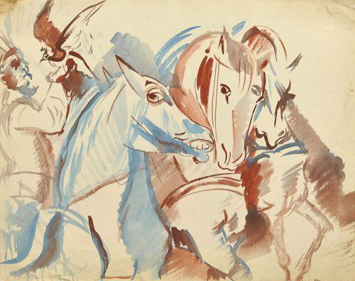 Akwarela na papierze autorstwa Jerzego Teodorowicza przedstawiająca 3 konie w zaprzęgu oraz woźnice z ptakiem.
