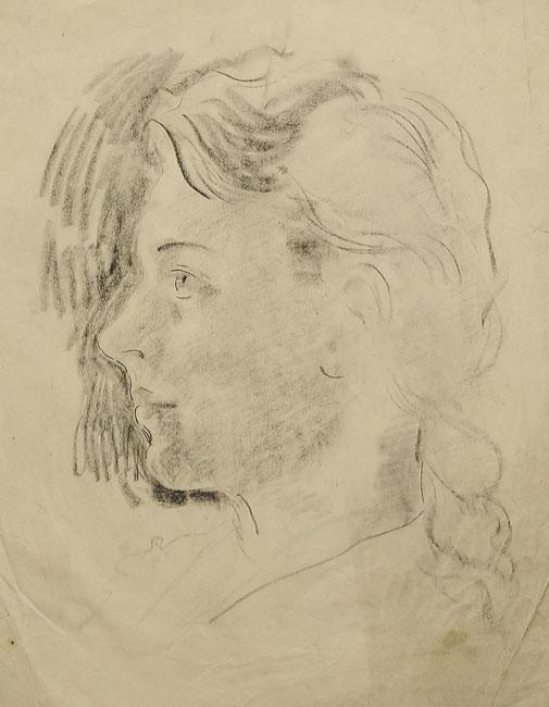 Rysunek węglem na papierze wykonany przez Helenę Teodorowicz. Rysunek przedstawia młodą dziewczynę o pięknym profilu i włosami spiętymi w warkocz.
