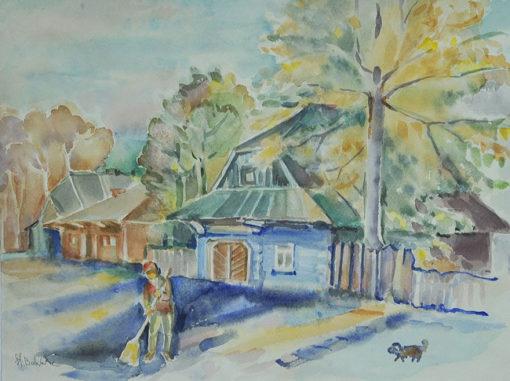 Akwarela na papierze autorstwa Stanisławy Bolesławskiej przedstawiająca meżczyznę zamiatającego podwórko przed domem.