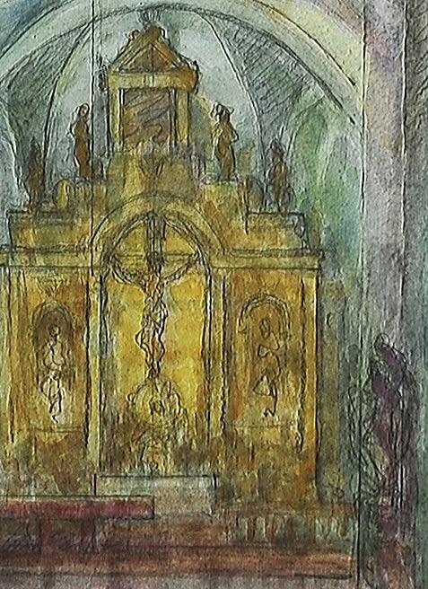 z konturami rysowanymi ołówkiem przez Tadeusza Matonia. Obraz przedstawia część kościoła z prezbiterium i amboną