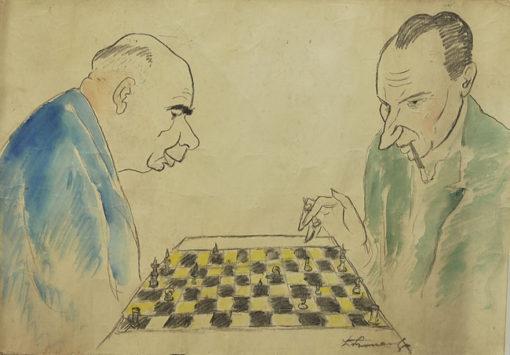 Akwarela na papierze z mężczyznami grającymi w szachy. Część elementów rysowana węglem. Obraz powstał prawdopodobnie w latach 1960-tych.
