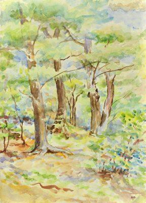 Pejzaż leśny wykonany został akwarelą na papierze. Malował Bolesław Mach