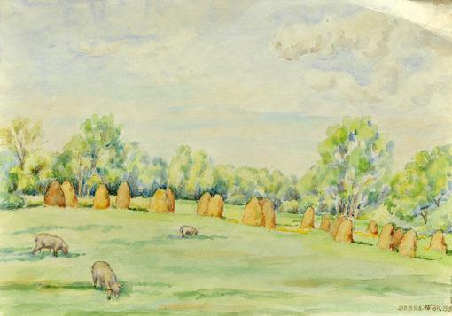 Pejzaż ze snopkami siana i owcami w miejscowości Dobra wykonany został akwarelą na papierze. Malował Bolesław Mach