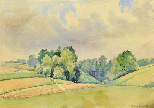 Pejzaż z pagórkowymi łąkami i laskiem w miejscowości Zawada koło Lanckorony wykonany został akwarelą na papierze. Malował Bolesław Mach