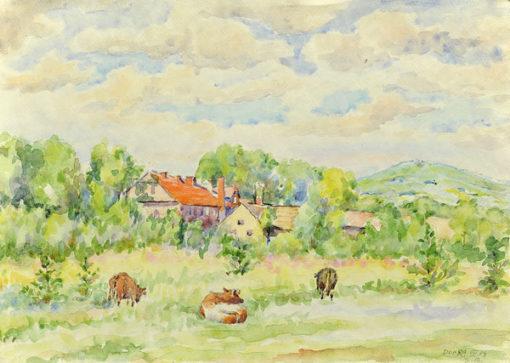 Pejzaż ze pasącymi się na łące krowami w miejscowości Dobra wykonany został akwarelą na papierze. Malował Bolesław Mach