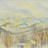 Pejzaż przedstawiający zakopiańskie góry pokryte śniegiem wykonany został akwarelą na papierze. Malował Bolesław Mach