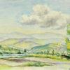 Pejzaż przedstawiający rzekę i góry w miejscowości Barcice wykonany został akwarelą na papierze. Malował Bolesław Mach