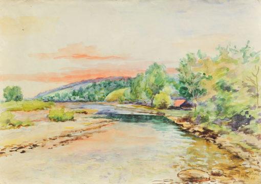 Pejzaż przedstawiający rzekę i góry w miejscowości Osielec wykonany został akwarelą na papierze. Malował Bolesław Mach