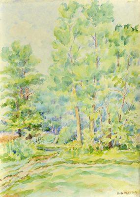 Pejzaż leśny w miejscowości Dobra wykonany został akwarelą na papierze. Malował Bolesław Mach w 1984 r.