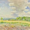Pejzaż przedstawiający pola i łąki oraz las na tle nieba