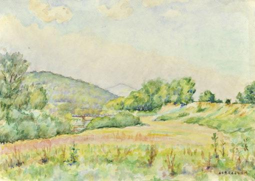 Pejzaż przedstawiający niewielkie wzniesienia porośnięte łąkami w miejscowości Dobra wykonany został akwarelą na papierze. Malował Bolesław Mach