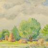 Pejzaż przedstawiający snopki siana na polach wykonany został akwarelą na papierze. Malował Bolesław Mach