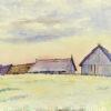 Pejzaż przedstawiający wiejskie chaty i stodoły w miejscowości Goworowo wykonany został akwarelą na papierze. Malował Bolesław Mach