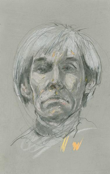 Portret Andy Warhola wykonany przez Marka Bujasa w latach 1990-tych ołówkiem i kredką na kartonie.