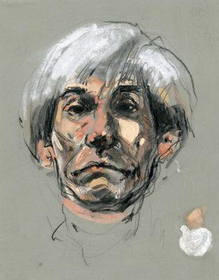 Portret artysty Andy Warhola wykonany przez Marka Bujasa w latach 1990-tych ołówkiem