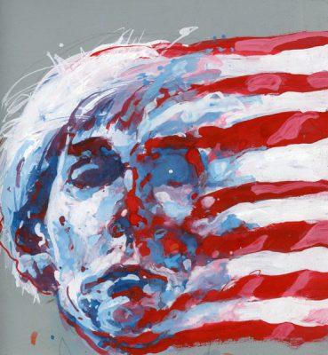 Portret artysty Andy Warhola wykonany przez Marka Bujasa w latach 1990-tych temperą na kartonie.