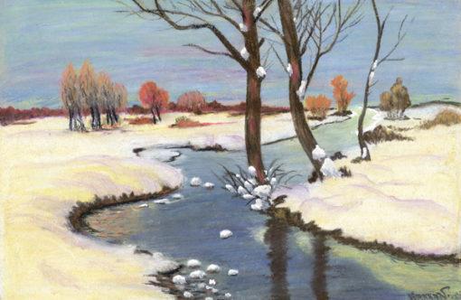 Obraz wykonany pastelą na papierze przedstawiający ośnieżone brzegi rzeki płynącej przez pola. W prawym dolnym rogu sygnatura ołówkiem Hanka W. (?) 1928.