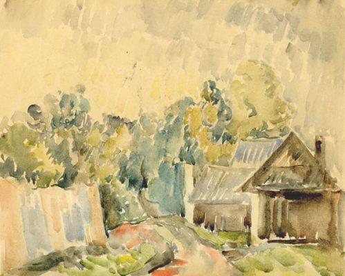 Obraz wykonany akwarelą na tekturze przedstawia wieś Poronin. Obraz namalował WŁADYSŁAW STAPIŃSKI
