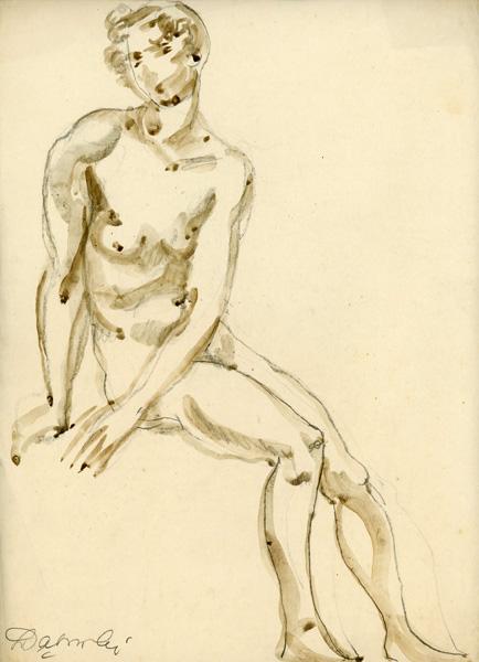 Obraz wykonany ołówkiem i akwarelą na papierze