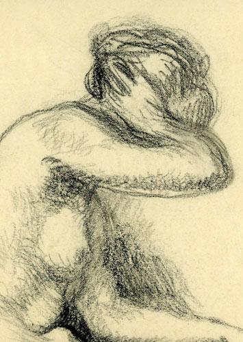 przedstawia akt siedzącej kobiety. Obraz namalował STANISŁAW DĄBROWSKI
