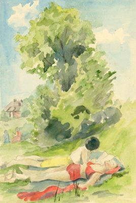 Akwarela z lat 1950-70 przedstawiająca kobiety opalające się na łące. Obraz szkicowany ołówkiem oraz malowany akwarelą wykonał na papierze nieznany artysta.