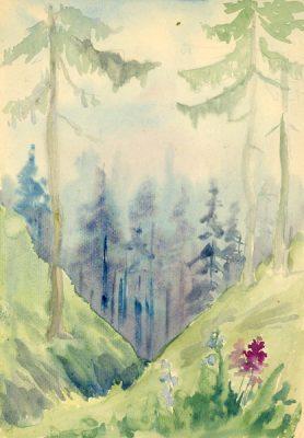 Akwarela z lat 1950-70 przedstawiająca fragment lasu oraz łąki w górach. Obraz szkicowany ołówkiem oraz malowany akwarelą wykonał na papierze nieznany artysta.