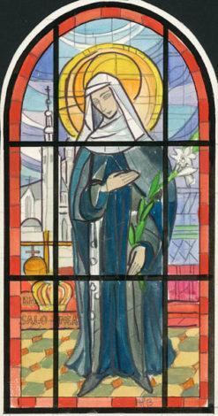 Projekt witraża z błogosławioną Salomeą wykonany przez Helenę Bożyk w latach 1970-tych.