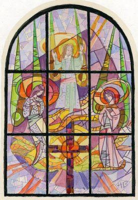 Projekt witraża ze sceną zmartwychwstania wykonany przez Helenę Bożyk w latach 1970-tych.