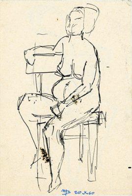 Rysunek piórkiem z nagą kobietą siedzącą na krześle wykonała Barbara Migdał w 1960 roku.