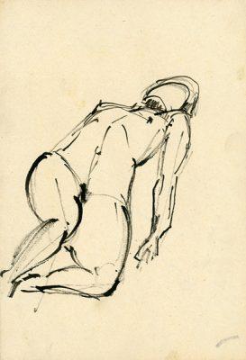 Rysunek piórkiem z leżącą nagą kobietą wykonała Barbara Migdał w ok 1960 r.