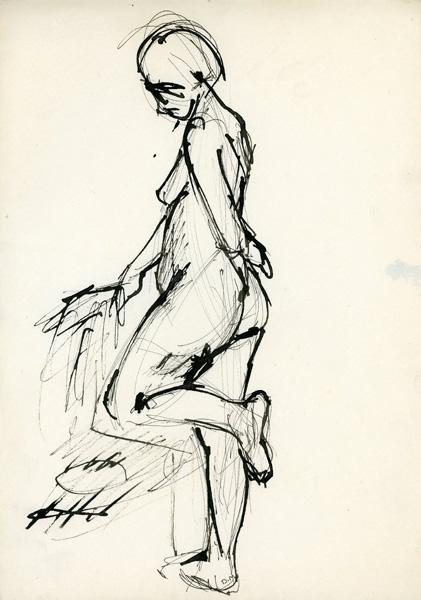 Rysunek akwarelą ze stojącą kobietą wspartą o krzesło