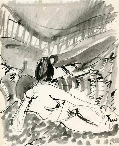 Rysunek akwarelą ze leżącą kobietą