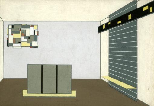 Projekt wykonany ołówkiem i gwaszem na kartonie