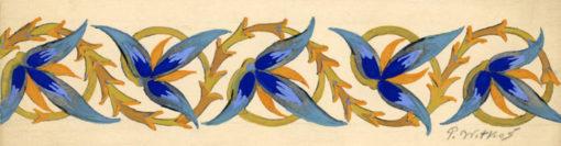 Projekt elementu dekoracyjnego o o motywach roślinnych wykonany gwaszem na kartonie. Projekt wykonał P. WITKOŚ