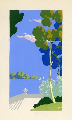 Letni pejzaż przedstawiający widok z tarasu na morze z żaglówkami