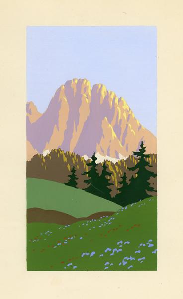 Letni pejzaż przedstawiający widok na oświetlone szczyty gór