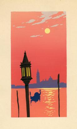 Letni pejzaż włoski przedstawiający Wenecję malowany gwaszem został wykonany w latach 20-tych XX wieku.