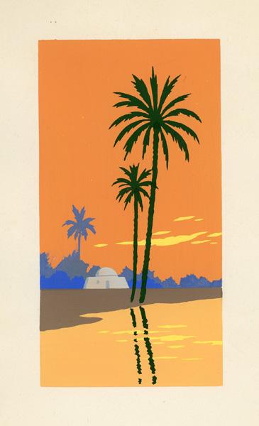 Letni pejzaż z palmą i piramidami malowany gwaszem został wykonany we Włoszech w latach 1920-tych XX wieku.